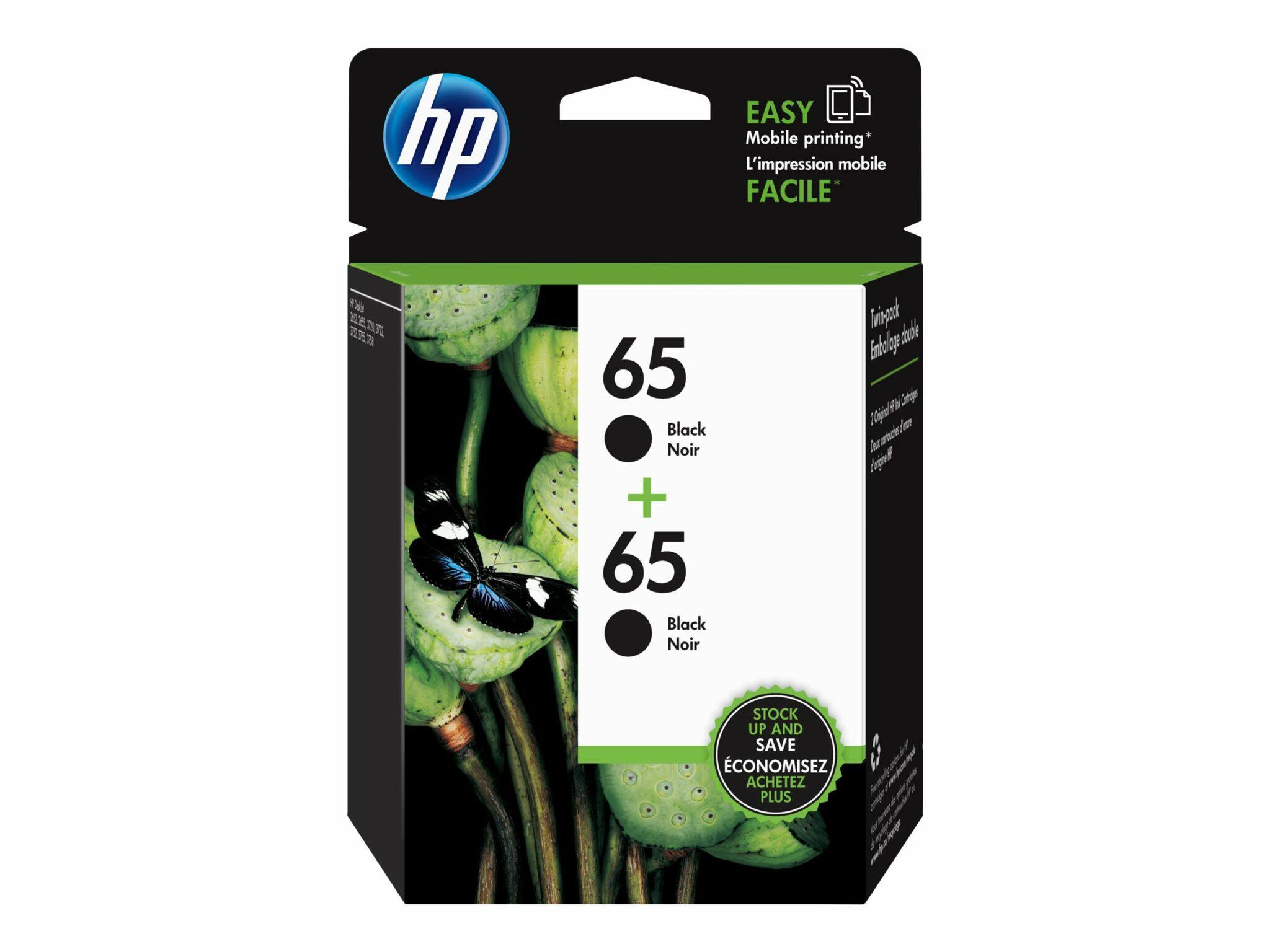 HP 65 Black Ink Cartridge 2-Pack
