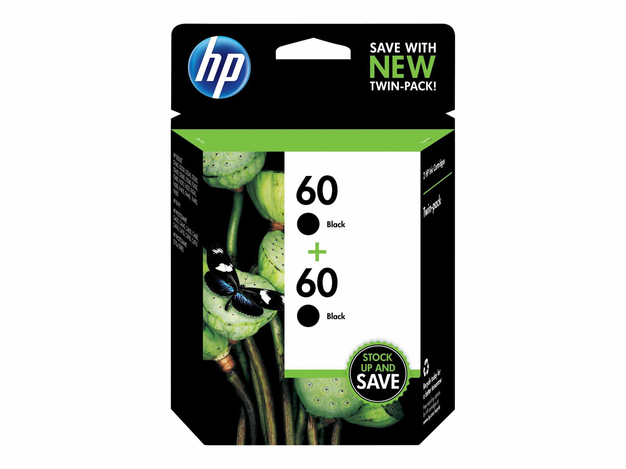 HP 60 2-pack Black Original Ink